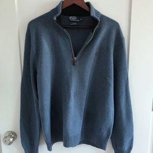 Men's Polo 1/4 Zip Pullover Cotton Sweater